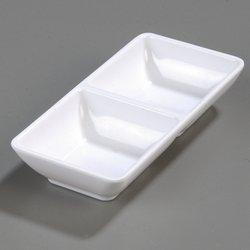 Carlisle 086202 2-Compartment Square Ramekins Set of 24 2-Ounce Melamine White NSF