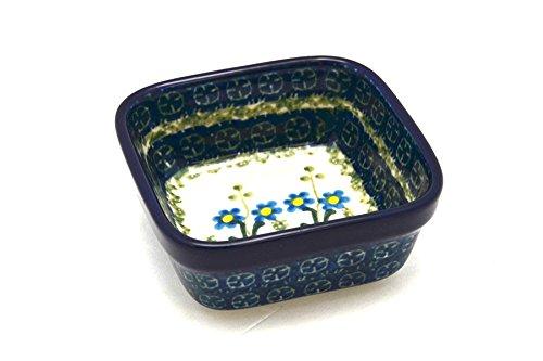 Polish Pottery Ramekin - Square - Blue Spring Daisy