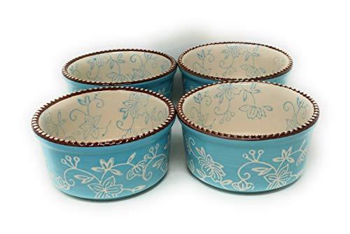 Temp-tations Set-of-4 6oz Round Ramekins Mini Bakers Single Serving Floral Lace Light Blue
