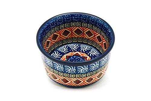 Polish Pottery Ramekin - Aztec Sun