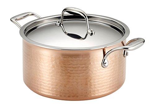 Lagostina Q5544664 Martellata Tri-ply Hammered Stainless Steel Copper Dishwasher Safe Oven Safe Stewpot Cookware 5-Quart Copper