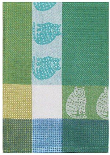 100 Cotton Green Blue 20x28 Dish Towel Set of 3 - Cat Aqua