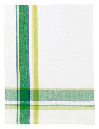 100 Cotton Green White Striped 20x28 Dish Towel Set of 6 - Greenhouse