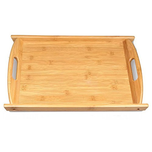 Hyacinthus Home Basics Handles Serving Trays Supplies Kitchen Bed Parties and Indoor Outdoor Serveware for Dining Entertaining Goods Breakfast eating Lightweight Bamboo BrownSmall