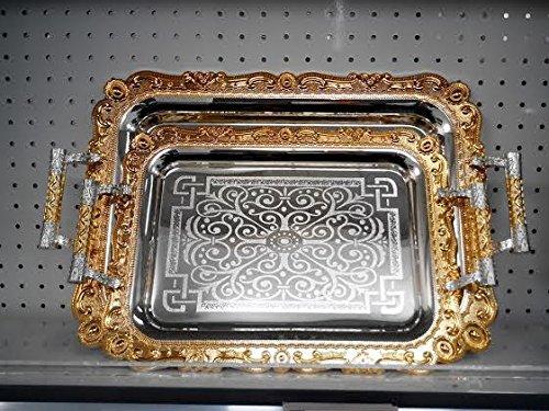 2 Piece Set Decorative FoodCoffee Serving Tray SilverGold Rectangular Design