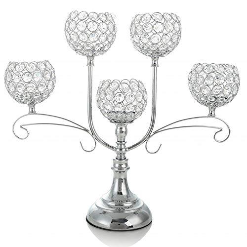 VINCIGANT Crystal Candle HoldersCandelabra Centerpiece for Wedding Dinner Part Firplace DecorationHouse Decor GiftChristmas Decoration Gifts BoxedSilver
