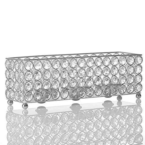 VINCIGANT Silver Crystal Candle HolderDecorative CandlesticksCandle Sleeve for Dinning Room Table Decoration Centerpieces