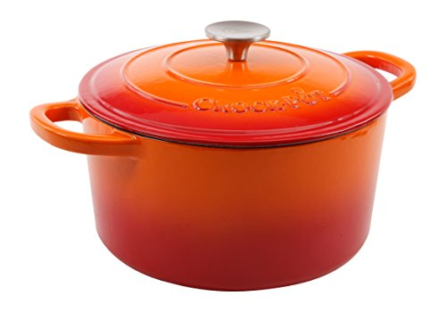 Crock Pot Artisan Enameled Cast Iron 5-Quart Dutch Oven Sunset Orange