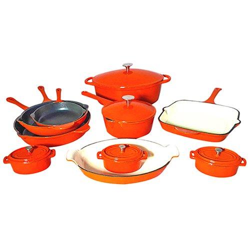 Le Chef 15 Piece ALL Enamel Cast Iron Orange Cookware Set