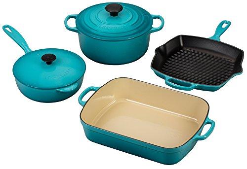 Le Creuset Signature 6-Piece Cast Iron Cookware Set Caribbean