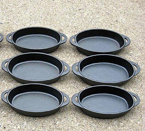 Old Mountain Oval Single Serve Cast Iron Dishes - Preseasoned Set of 6