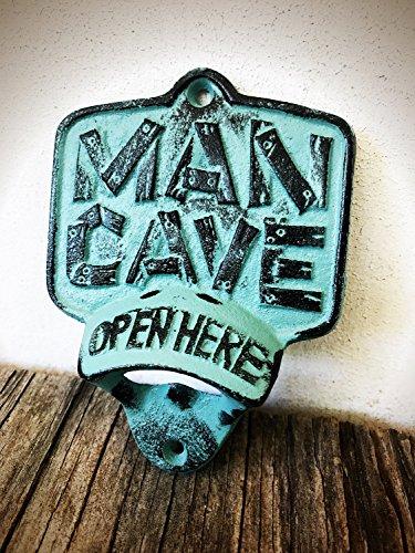 Rustic Patina Man Cave Wall Mount Bottle Opener – Durable Cast Iron – Unique Bar Décor – Men's Stocking Stuffer