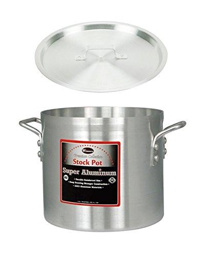 Winco AXS-50  50-Quart 16 x 14 Super Extra-Heavy Aluminum Professional Stock Pot with Cover Commercial Grade Sauce Pot with Lid