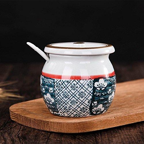 Ceramic seasoning salt jar with lid spoon Seasonning box Sugar bowl Seasoning jars Spice box Spice jars kitchen supplies-D