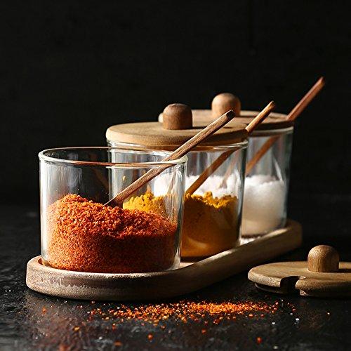 Natural acacia wood lid seasoning storage salt jarWith tray kitchen glass salt jar Seasoning jars Sugar bowl Spice cans-A
