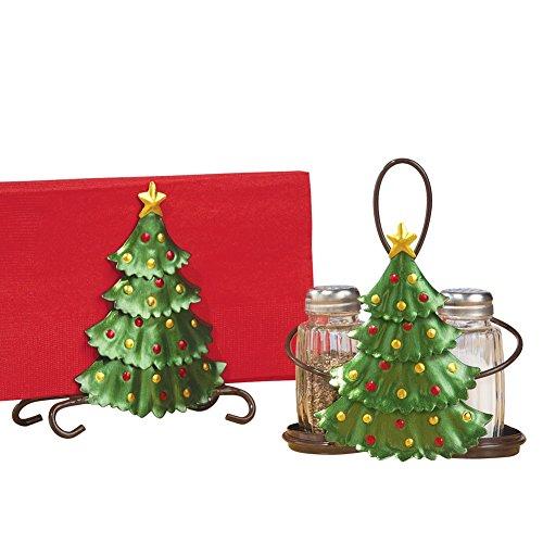 Christmas Tree Salt Pepper Napkin Holder Set