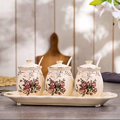 Royal continental ceramics cruet embossed handmade Spice jar set Gold Diamond salt shaker kitchen supplies-D