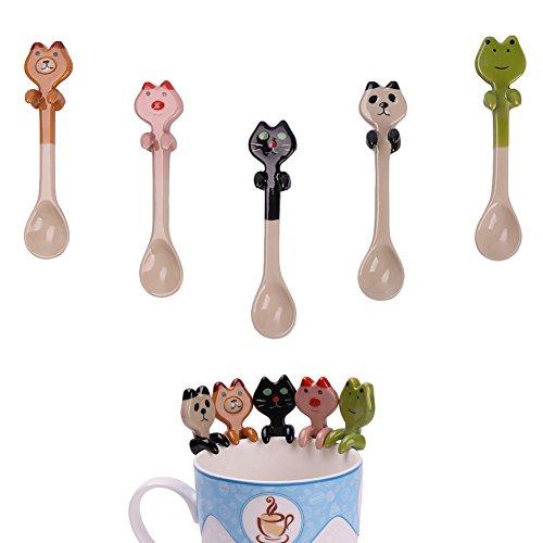 5pcs Ceramic Cute Cartoon Hanging Spoons Animals Handle Tea Coffee Feeding Dessert Small Spoon