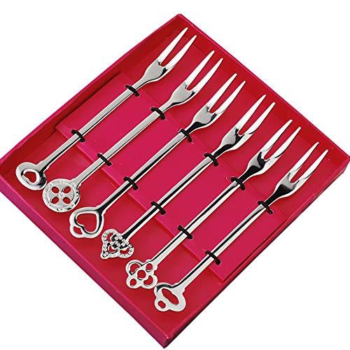 Stainless Steel Fruit Forks Tasting Appetizer Forks Cocktail Forks for Salad Cake Fruit-6 Piece Silver