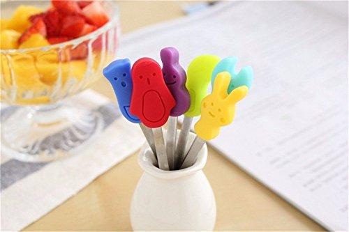 Katoot 2packslot Korean Tableware Mini Stainless Steel Children Cartoon Fruit Fork Set Cake Fruit Picks Table Decals