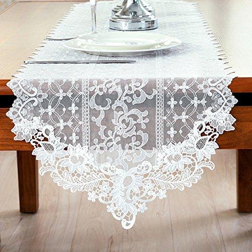 Lace fabric dining Table Runner tea Table Runner european-style simple white Table Runner rural korean Table Runner-A 40x180cm16x71inch