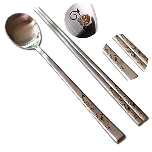 2 Sets of Black Rose Laser Engraved Korean Stainless Steel Chopsticks Spoon 1810