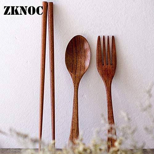 Fiesta Portable Wooden chopsticks Set Reusable Spoon Fork Chopsticks Set Tableware Flatware eco-friendly kitchen household dinnerware Brown