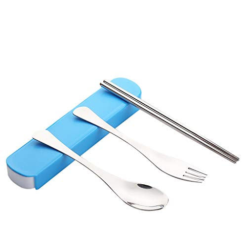 Portable Spoon Fork Chopsticks SetStainless Steel TablewareGood Partner for Business Trip Work School and Travel