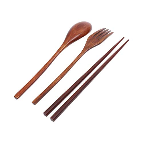 UPKOCH Wooden Flatware Tableware Cutlery Set Travel Portableb Utensils Fork Spoon Chopsticks Eco-friendly Japanese