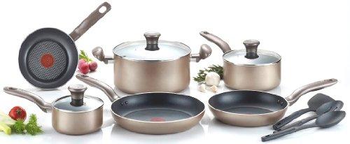 T-fal C067sc Metallics Nonstick Thermo-spot Heat Indicator Cookware Set, 12-piece, Bronze