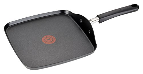 T-fal C03713 Opticook Hard Anodized Thermo-spot Titanium Nonstick Oven Safe Square Griddle Cookware, 10.25-inch