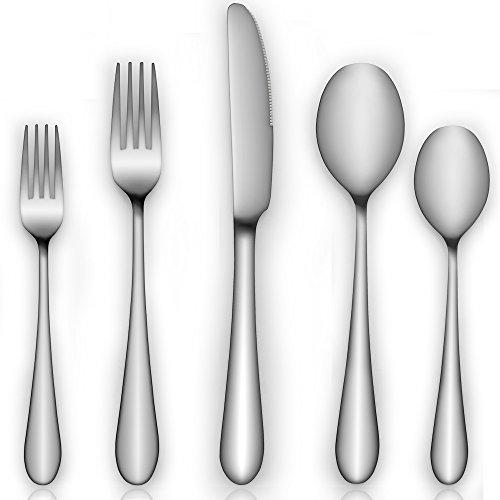 Silverware Flatware AOOSY 20-Piece Silverware Flatware Cutlery Set Stainless Steel Utensils Service for 4 Include KnifeForkSpoon Mirror Polished Dishwasher Safe