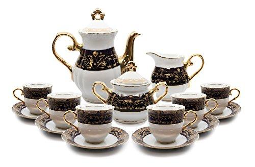 Royalty Porcelain 17-pc Flower Pattern Dark Cobalt Blue Tea Set 24K Gold-Plated Original Czech Tableware Service for 6