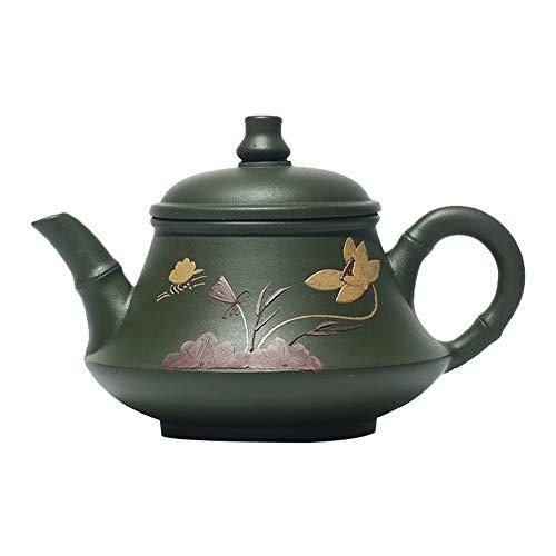 Teapot Tea Maker Pot Lotus Jade Green Clay Ore Republic Of China Li Handmade Teapot Unique Oriental Design Teapot LPLHJD Color  Republic of China Green Mud