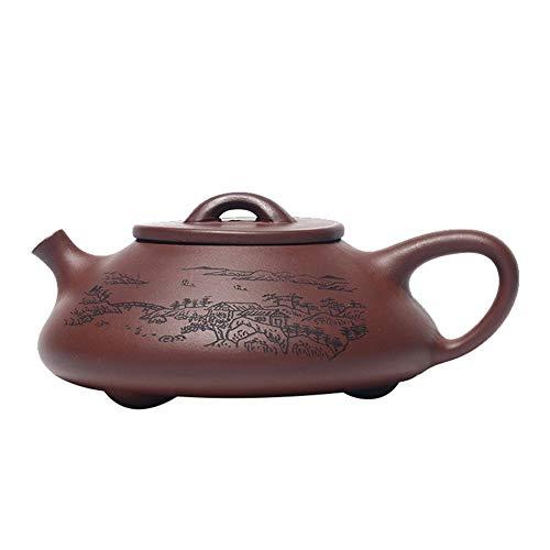 Teapot Tea Maker Pot Yixing Purple Clay Tea Ore Landscape Stone Scoop Lettering Yixing Teapots LPLHJD Color  Purple mud