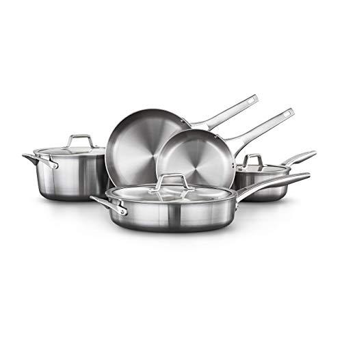 Calphalon 2029633 Premier Stainless Steel 8-Piece Cookware Set Silver Renewed
