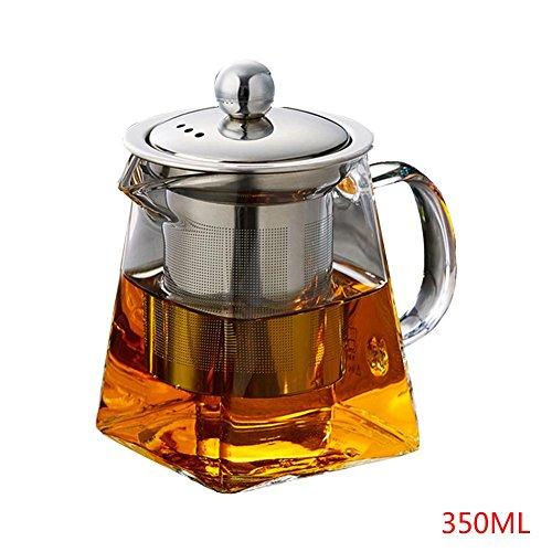 Intenst Glass Teapot with Infuser Tea Strainer, Stainless Steel Safe Tea Kettle,Blooming and Loose Leaf Tea Maker Set