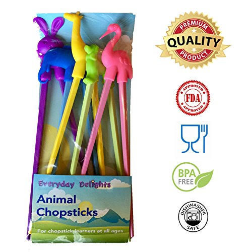 Everyday Delights Animal Training Chopstick Utensil Set  Chop Sticks Rabbit Flamingo Giraffe Dog Elephant for Children Kids Teens Adults 5 pairs - Cute Eco-friendly Reusable Durable