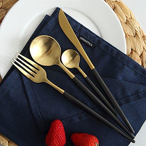UONLY 4pcsset Delicate Stainless Steel Flatware Set Western Food Tableware Knife Fork Spoon Tea Spoon Cutlery Set BlackGold
