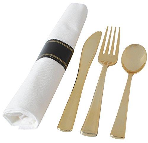 Adorn Set for 25 Servings Gold Napkin Rolled Cutlery Fork Knife Spoon