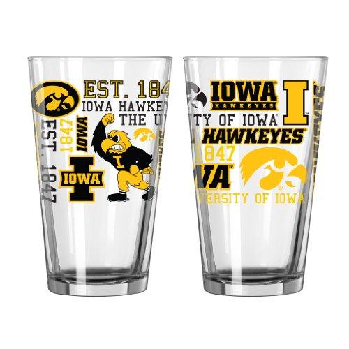 NCAA Iowa Hawkeyes Pint Glass 16-ounce 2-Pack