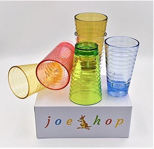 JoeHop 8oz childrens Plastic glasses TumblersPremium Quality BPA-Free Break-Resistant cups MicrowaveDishwasher Safe HotCold Drinks Set of 6 in Six Assorted Vibrant Colors