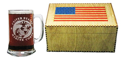 USMC 15oz Beer Mug with Handle AND American Flag Keepsake Gift Box