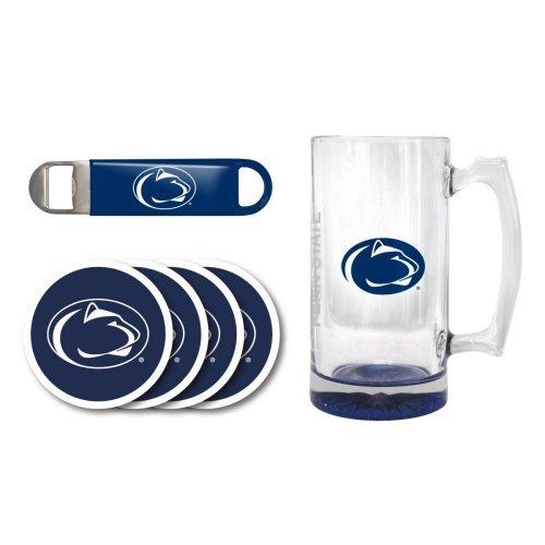 NCAA Penn State - Elite Tankard Bottle Opener Vinyl Coasters 4 Set  Penn State Nittany Lions 25 oz Beer Mug Gift Set