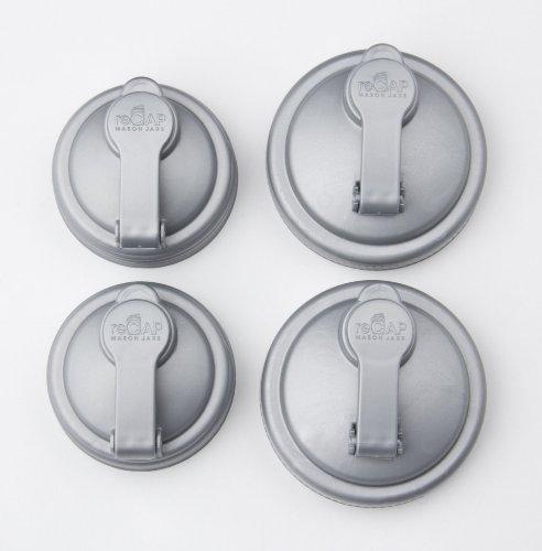 reCAP Mason Jars POUR 2 Regular Mouth 2 Wide Mouth Canning Jar Lids Silver - 4 Pack