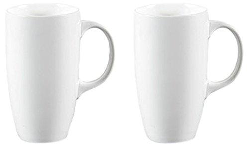 Panbado 2-Piece Porcelain Mugs Ceramic Cup Set For Coffee Tea Water 21 oz630 mL White