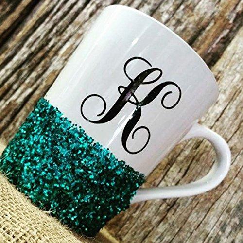 Personalized Glittered Monogram Coffee Mug