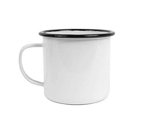 Crow Canyon Home Enamelware 16 oz Coffee Mug Black Rim