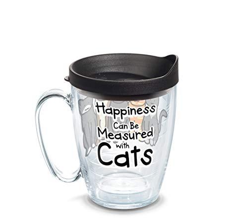 Tervis 1308381 16 oz Coffee Mug with black lid Tumbler Clear