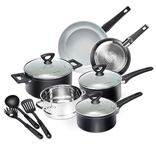 Duxtop 12-Piece Nonstick Cookware Set Dishwasher Oven Safe Ceramic Pots and Pans Set with Glass Lid Impact-bonded Technology Induction Base